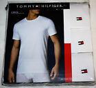 $39.90 Tommy Hilfiger 3 PACK T-Shirts Mens Classic Crew V Neck Tee WHITE  M L XL