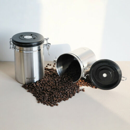 Stainless Steel Airtight Coffee Canister Vacuum Sealed Container Date Tracker