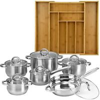12 Piece Cookware Set Stainless Steel Pots Pans + Bamboo 8 Slot Organizer Tray