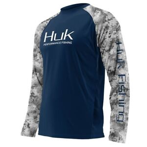 7fb68272a54 Image is loading Huk-Youth-Double-Header-Raglan-Long-Sleeve-Fishing-