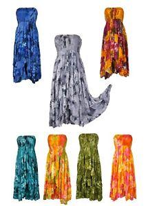 Bandeau-Tiered-Dress-Hippie-Boho-Gypsy-Beach-Summer-Size-10-12-14-16