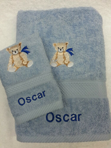 PERSONALISED TEDDY BEAR TOWEL SET BATH TOWEL AND FACE CLOTH CHRISTMAS GIFT PRESE