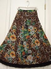 2 Tiered LEOPARD & FLORAL print LINED Cotton Peasant Skirt CROCHET Hem/S