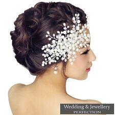 Flor nupcial Peine de Cabello Cristal Perla Diamante Boda Clip Diapositiva Diadema Baile de graduación