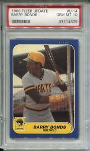 1986 Fleer Update Baseball #u14 Barry Bonds Rookie Card Graded PSA Gem Mint 10