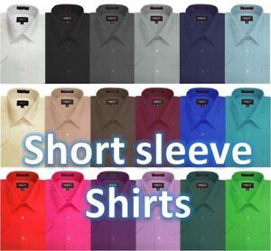 Omega-Mens-Solid-SHORT-SLeeve-Dress-Shirts-26-Colors
