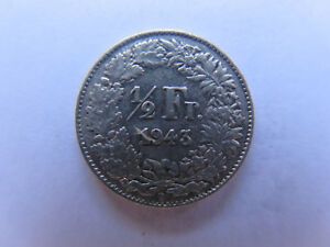 1943 B SWITZERLAND SILVER 1/2 FRANC in EXCELLENT COLLECTABLE CONDITION