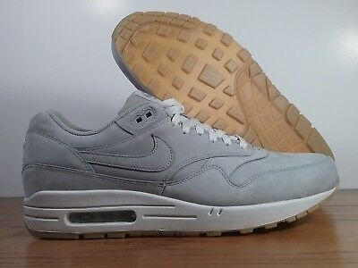 New Nike Air Max 1 Leather LTR Premium Med Grey Gum 705282