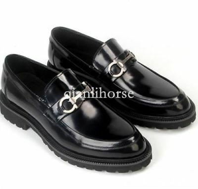 Mens Black Backless Slip On Real Leather Fur Gold Buckle Loafers Shoes AZAR