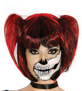 Image is loading Ladies-Pigtails-Wig-Red-Black-Goth-Witch-Halloween-  sc 1 st  eBay & Ladies Pigtails Wig Red Black Goth Witch Halloween Fancy Dress ...