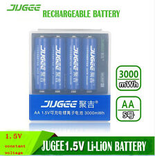 4pcs 1.5v Jugee 3000mWh rechargeable Lithium  AA  battery +charger PK KENTLI