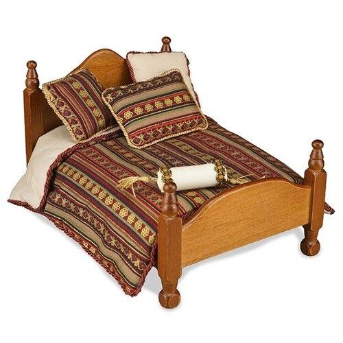Reutter porcelana días manta//Maroon Queen bed Comforter set muñecas Tube 1:12