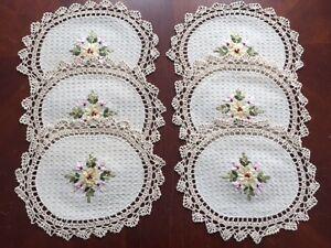"""6 pieces  10"""" x 14""""  OVAL Crochet Lace Doily COLOR Beige  100 % COTTON"""