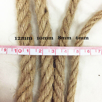 6mm -12mm Natural Jute Hessian Sisal Rope Cord Braided Twisted Flax String 2-10m