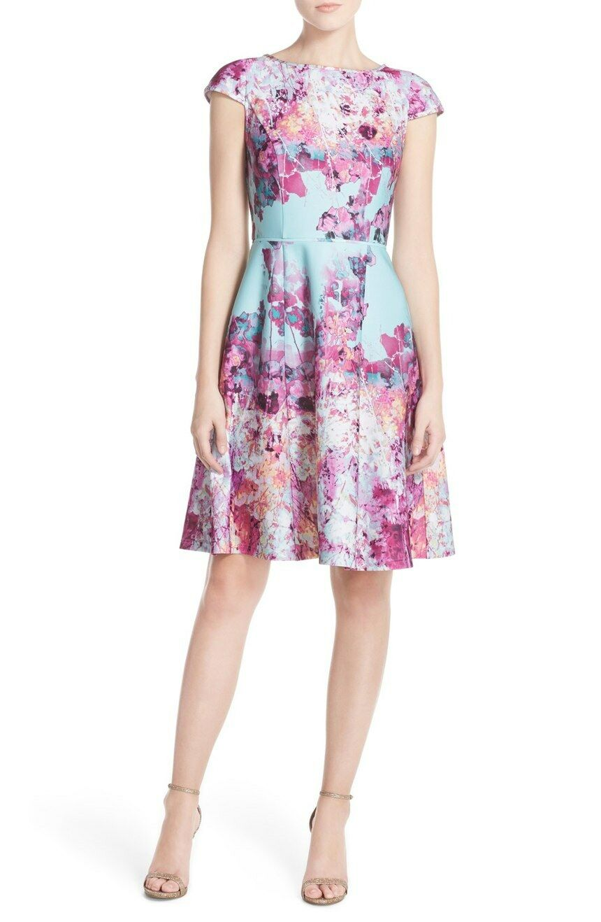 Adrianna Papell Floral Print Scuba Fit & Flare Dress (Storlek 14)