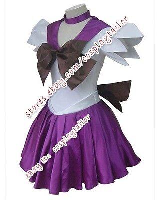 Sailor Moon Saturn Purple Girl Uniform Party Dress Cosplay Costume Halloween