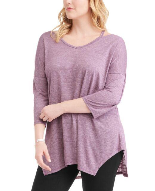 9df8fa6cd6a Terra   Sky Women s Plus Fashion Tee Shirt Purple Oxford Size 2x 20 ...