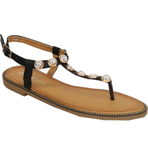Ladies Flat Sandals Womens Pearl Toe Post Buckle Shoes Fashion Summer Party New