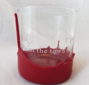 Rare-Maker-039-s-Mark-Bourbon-034-Paint-the-town-Red-034-Frosted-Cocktail-Glass-Wax-Dipped
