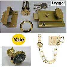 LEGGE 60mm REVERSIBLE GOLD NIGHTLATCH LATCH CYLINDER & YALE BRASS CHAIN & SPY