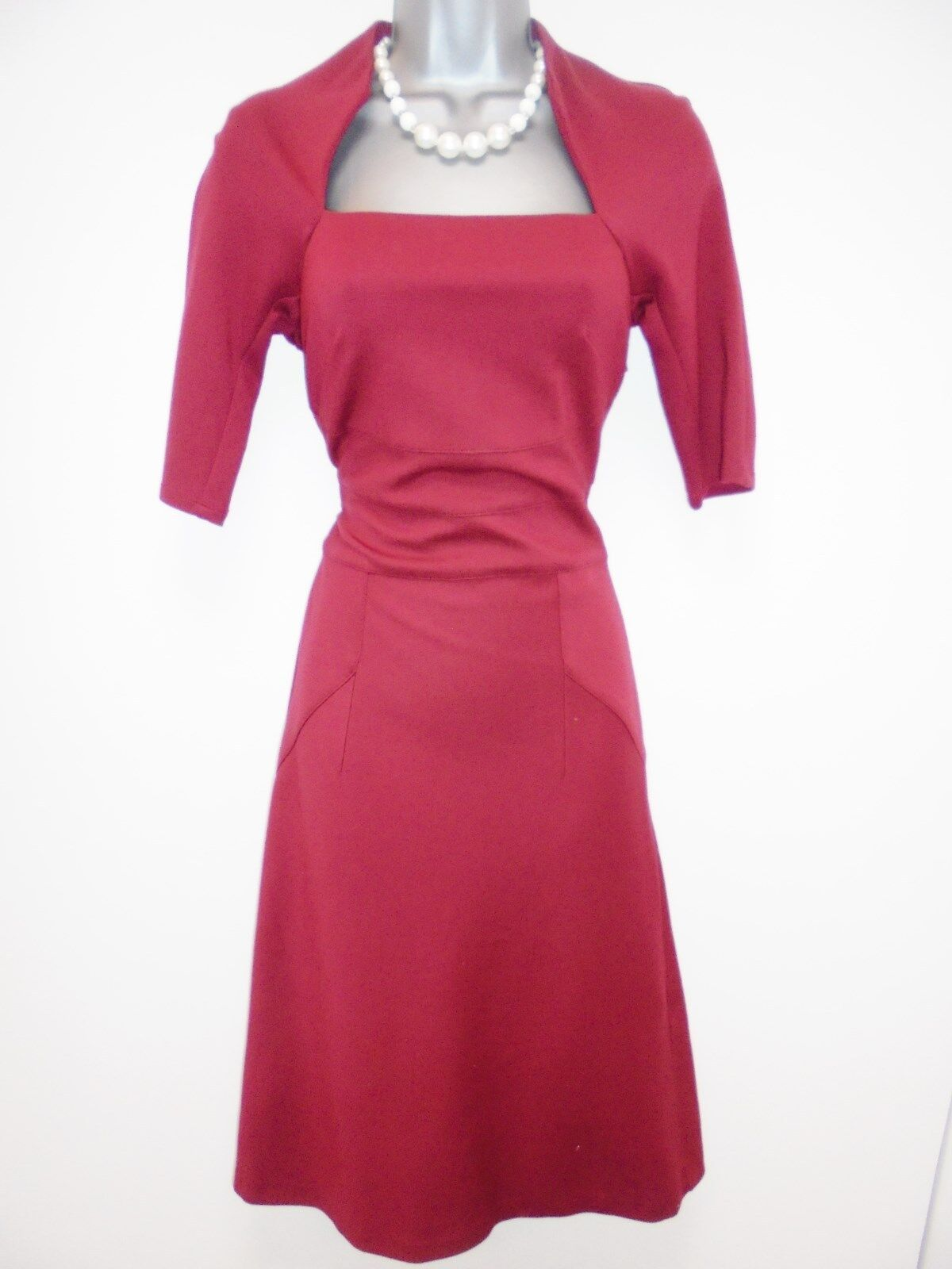 Stunning Mary Portas Maroon Galaxy Wiggle Stretch Evening Midi Day Dress Größe 8 | Vielfalt  | Ausgang  | Zart
