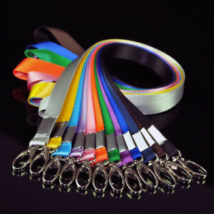 Multi-Color-Nylon-Solid-Lanyard-Neck-Strap-Keychain-For-Badge-ID-Card-Holder-New