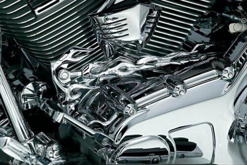 Kuryakyn Chrome Flame Shift Primary Linkage Trim Accent Harley Touring Softail
