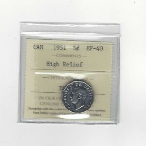 1951-High-Relief-ICCS-Graded-Canadian-5-Cent-EF-40