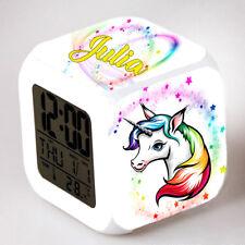Reveil cube led lumière nuit clock licorne unicorn personnalisé prénom réf 25