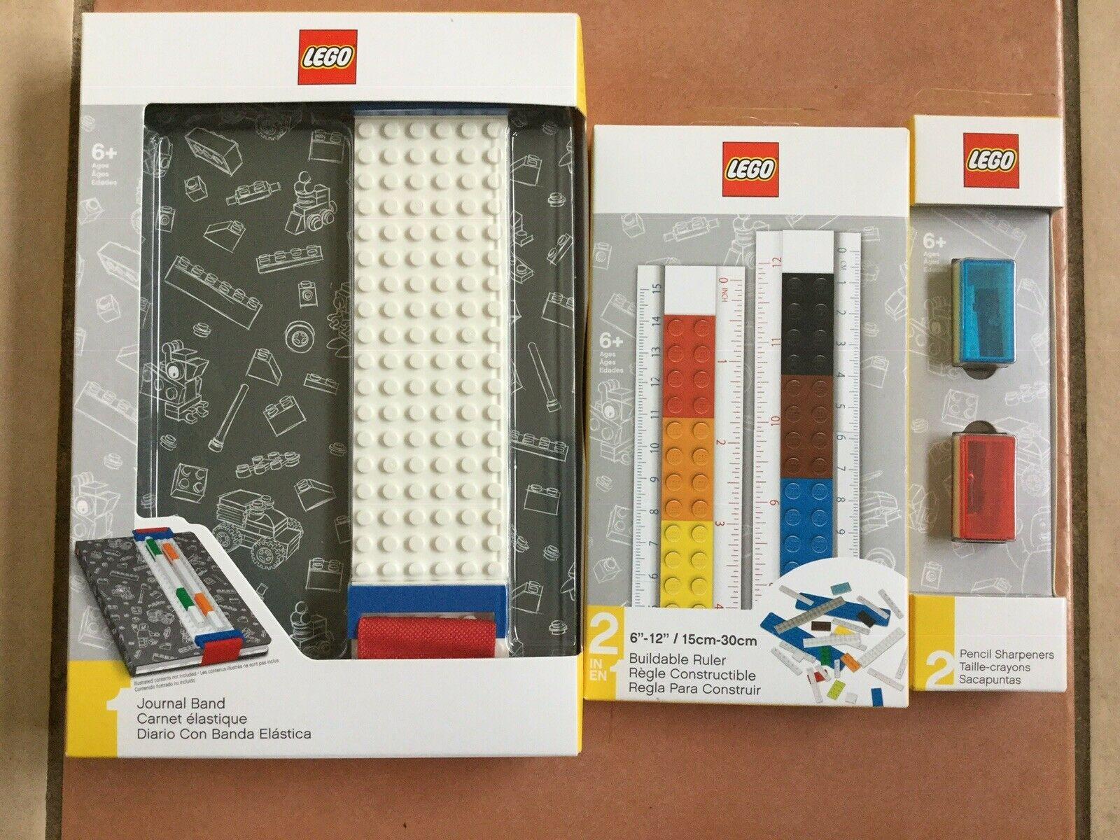 New Lego Stationary Bundle Set A5 Journal Notebook, Ruler And Sharpeners