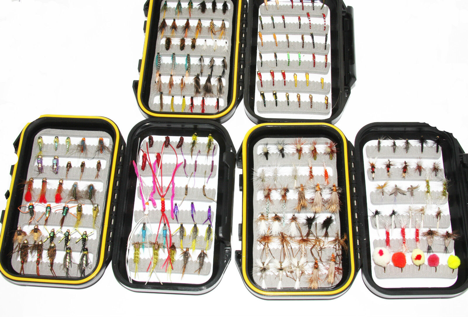 200 Trout Flies Assorted Suitable For River & Stillwater Fly Fishing, 4 Box Set