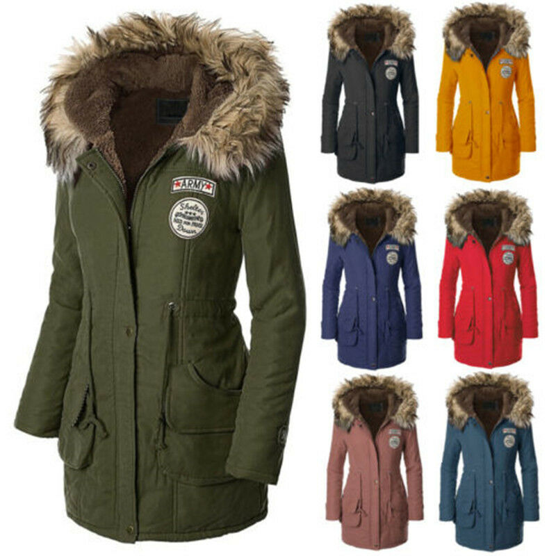 NEW Women's Warm Long Coat Fur Collar Hooded Jacket Slim Winter ...