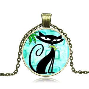 Hot-Vintage-Cabochon-Bronze-Glass-Cat-Charm-Pendant-Necklace-14