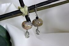 Silver BUDDHA Natural FLOWER AGATE Round Beads Drop Earrings Rare Gemstones NEW