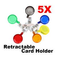 5 Pcs ID Card Holder Reels Retractable Badge Clip Reel