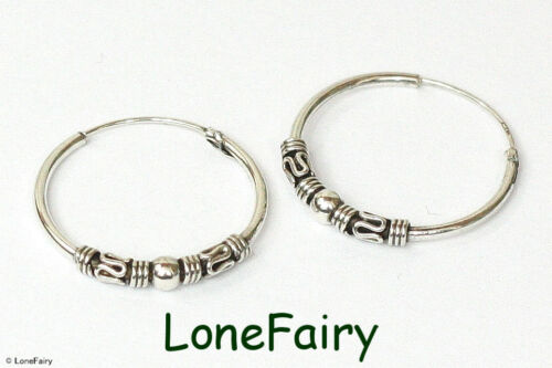 Large Solid 925 Sterling Silver Bali Style Hoop Earrings Ethnic Hippy 35 40 mm
