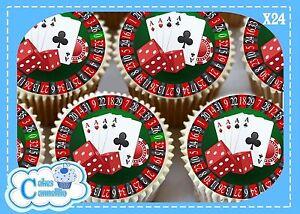 Papier De Riz Décoration 24 x casino poker nuit cartes comestible cupcake dÉcoration gÂteau