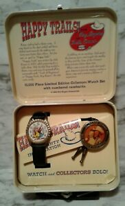 1994 Happy Trails Roy Rogers & Dale Evans FOSSIL LE Watch, Bolo Tie & Lunch Box