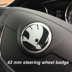 42MM-Steering-Wheel-Sticker-Badge-Emblem-Logo-Skoda-Superb-Octavia-Fabia