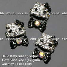 3D Nail Art Deco Hello Kitty & Bow Knot Alloy Jewelry Glitter Rhinestone #EJ-140