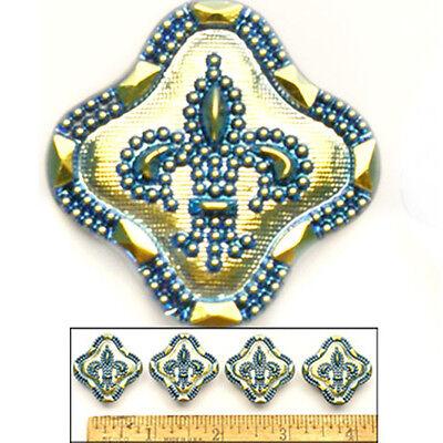LOVELY 27mm Vintage Czech Glass BLUE RAINBOW AB Fleur de Lis 3D SQUARE Buttons 4