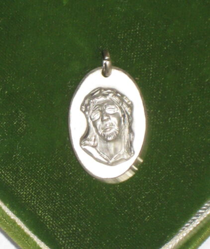 Vintage Ecce Homo Face of Jesus Agony Sterling Silver Metal Charm Pendant 3a 25