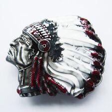 NEW INDIAN CHIEF HEAD HEADDRESS APACHE BELT BUCKLE