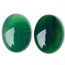 Packet 4 x Green Onyx Flat Back 8 x 10mm Oval 3.5mm Thick Cabochon CA17392-2