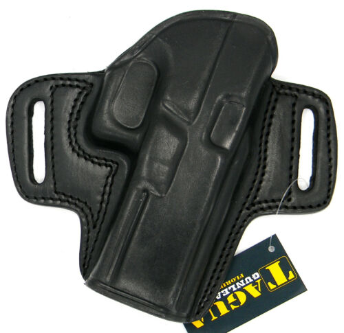 """TAGUA BLACK LEATHER OPEN TOP OWB BELT HOLSTER for SPRINGFIELD XDM 3.8/"""""""