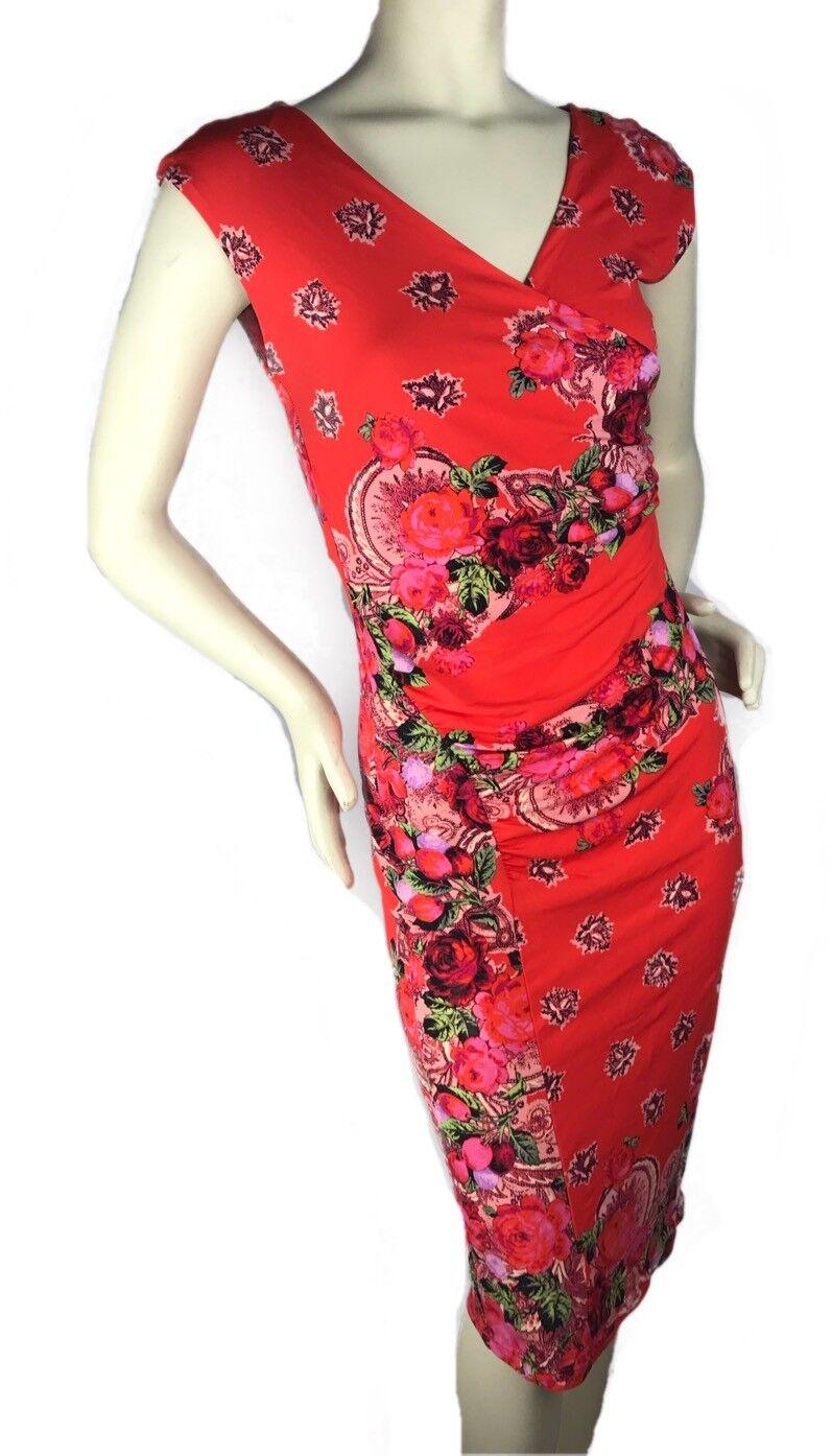 Jean Paul Gaultier Solfil Floral Printed Sleeveless Stretch Dress Sz M