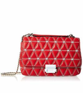 Details about Michael Kors Sloan Logo Studded Large Chain Red Shoulder Bag