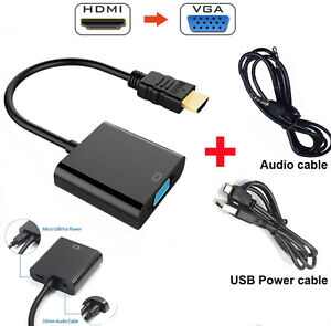 Details about 1080P HDMI to VGA Audio Converter Video Cable Adapter w/ USB  3 5mm Output for PC