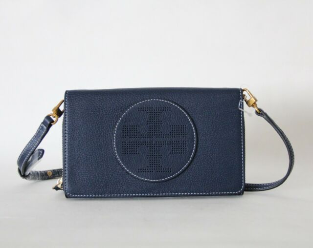b44965136e5e Last 1 Tory Burch Perforated Logo Flat Wallet Leather Crossbody ...