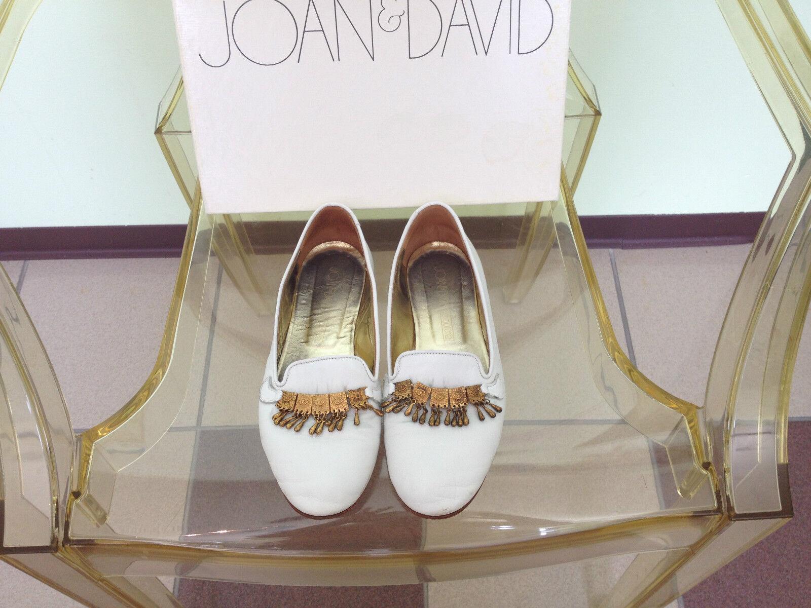 Para mujer Joan & David Hecho a Mano Cuero Cuero Cuero Mocasines blancoo con encanto de oro recortar tamaño 7M  mejor calidad mejor precio